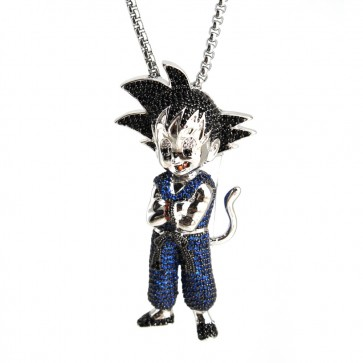 Goku Blue White Gold Diamond Pendant