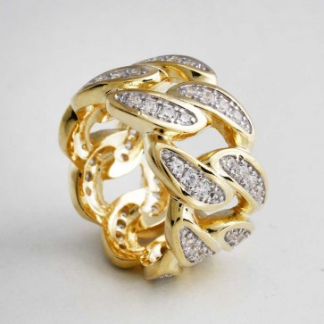 Diamond Gold Cuban LInk Ring