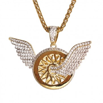 Gold Winged Rim Tire Pendant