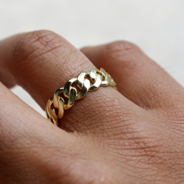 Gold Miami Cuban Link Ring