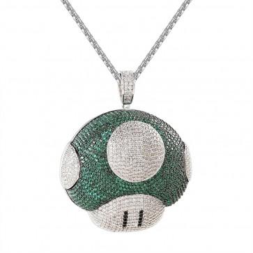 Mushroom Diamond Pendant-Silver / Green