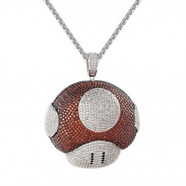 Mushroom Diamond Pendant-Silver / Red