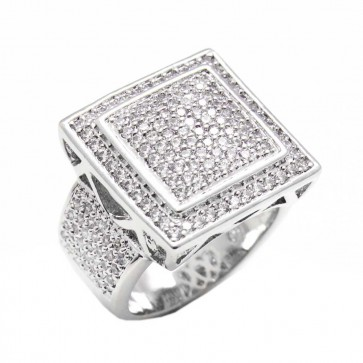 Diamond Silver Square Fashion Ring
