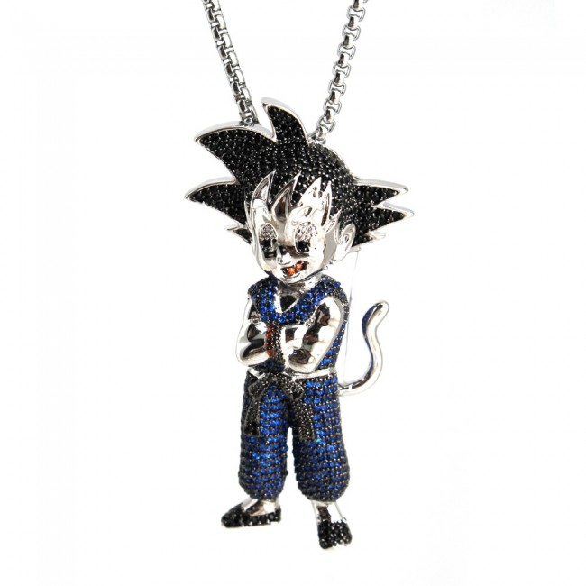 Goku blue white gold diamond pendant characters custom pendants goku blue white gold diamond pendant aloadofball Images