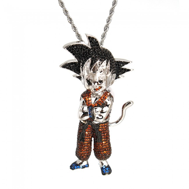 Goku red white gold diamond pendant characters custom pendants goku red white gold diamond pendant aloadofball Gallery
