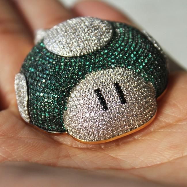 Mushroom diamond pendant gold green custom pendants mushroom diamond pendant gold green mozeypictures Gallery