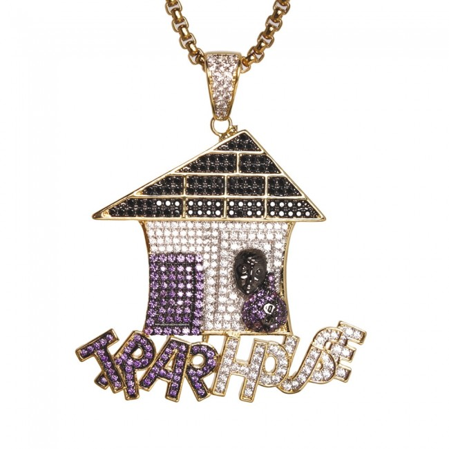 Gold trap house pendant custom pendants gold trap house pendant aloadofball
