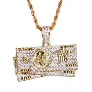 Gold Hundred Dollar Pendant