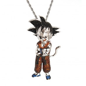 Goku Red White Gold Diamond Pendant