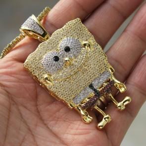 Yellow Gold Sponge Bob Pendant